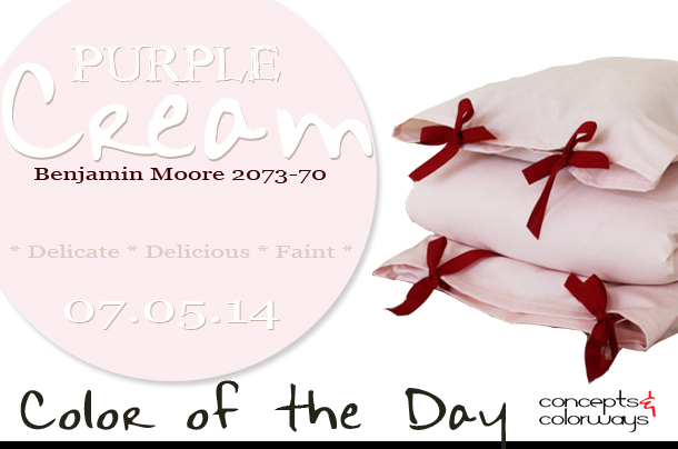 07.05.14 Color of the Day, Purple Cream, Benjamin Moore 2073-70, pale pink, pale pink toddler bedding