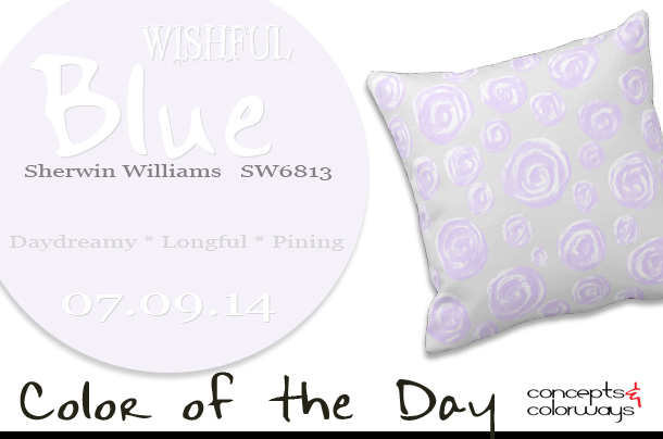 07.09.14 Color of the Day, Wishful Blue, Sherwin Williams SW6813, pale purple-blue, subtle rose patterned throw pillow
