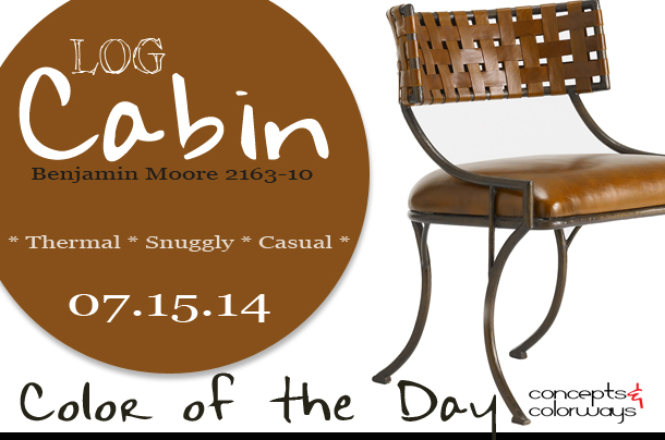 07.15.14 Color of the Day, Log Cabin, Benjamin Moore 2163-10, caramel brown, Bunny Williams Home Helena Chair