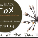 07.18.14 Color of the Day, Black Fox, Sherwin Williams SW7020, brown-black, sapphire ceiling lamp