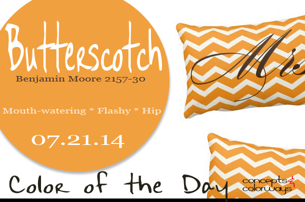 07.21.14 Color of the Day, Butterscotch, Benjamin Moore 2157-30, Mrs. Chevron Stripes American Mojo Pillow, orange and white chevron lumbar pillow