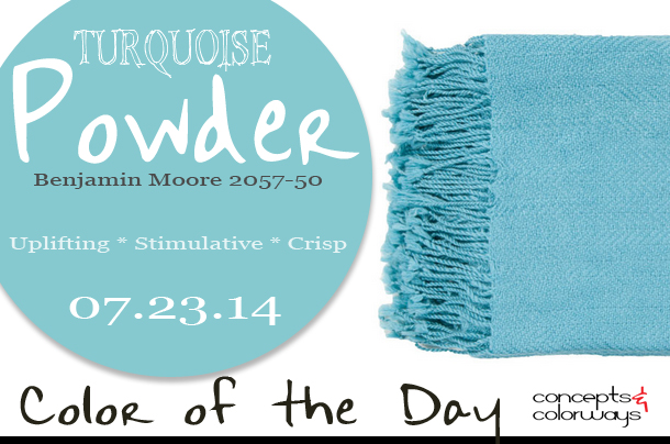 07.23.14 Color of the Day, Turquoise Powder, Benjamin Moore 2057-50, bright blue, Surya Turner bright blue throw blanket
