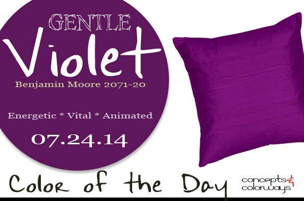 07.24.14 Color of the Day, Gentle Violet, Benjamin Moore 2071-20, bright purple silk dupioni pillow, dark purple,
