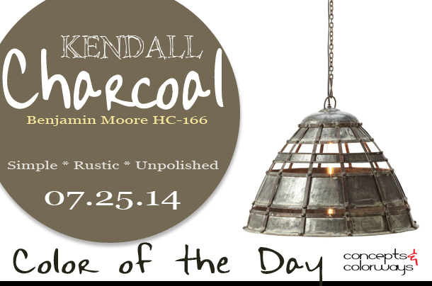 07.25.14 Color of the Day, Kendall Charcoal, Benjamin Moore HC-166, dark gray, warm gray, Lazy Susan Colossal Fortress Pendant