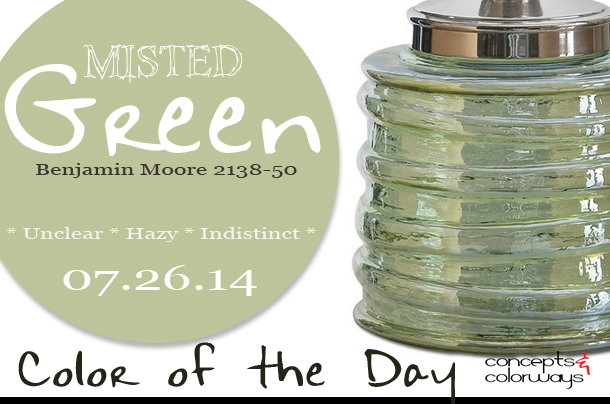 07.26.14 Color of the Day, Misted Green, Benjamin Moore 2138-50, bottle green, Uttermost Gena decorative bottle
