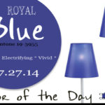 07.27.14 Color of the Day, Royal Blue, Pantone 19-3955, dark blue, bright blue, silver modern accent lamp with lura blue shade
