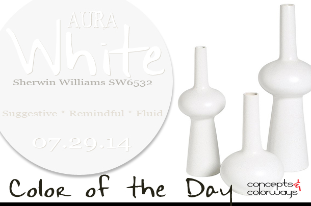 07.29.14 Color of the Day, Aura White, Sherwin Williams SW6532, off-white, cool white, pale blue, lunar matte white vases