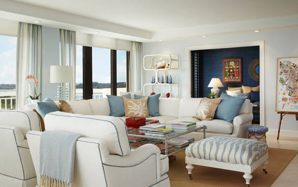 coastal style living room with pale blue-gray walls