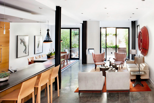 modern living room, concrete floors, light wood accents, taupe accents, black architectural details