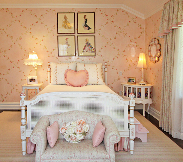 traditional girls bedroom, pale pink, pale peach, white furniture, vintage barbie prints