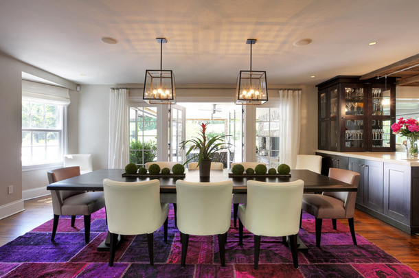 dining room, white chairs, purple area rug