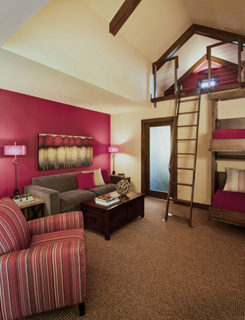 built-in bunk beds, hot pink accent walls