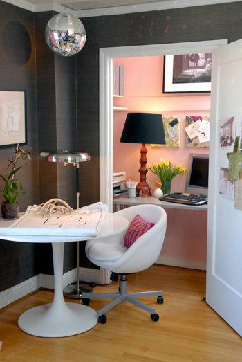 home office, disco ball, hot pink accents, white furniture, dark gray walls