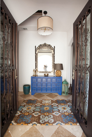 moroccan style entry, cobalt blue console table