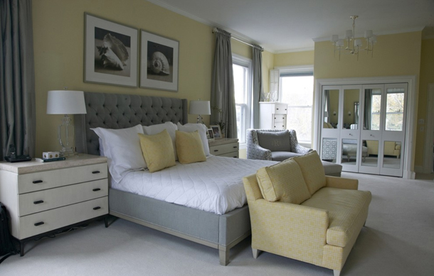 light yellow bedroom with gray accents