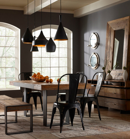 dark gray rustic dining room