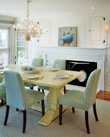 dining room with light yellow wood table