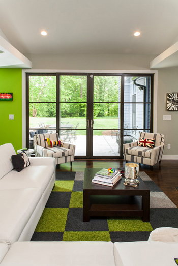 modern living room, bright green and gray accents, brown-black window wall
