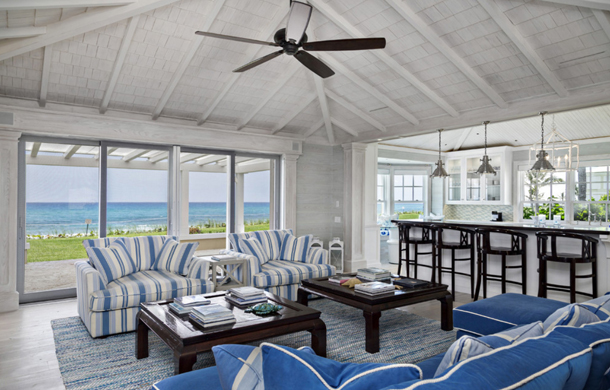 pale blue beach cottage living room, ocean view