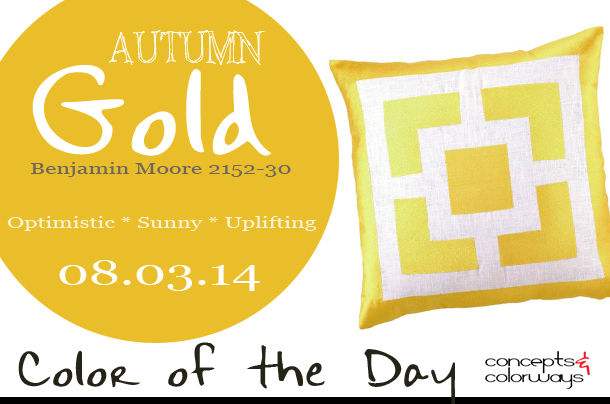08.03.14 Color of the Day, Autumn Gold, Benjamin Moore 2152-30, bright gold, Trina Turk Palm Springs Blocks Yellow Embroidered Pillow