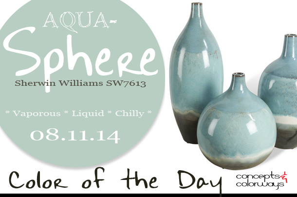 08.11.14 Color of the Day, Aqua-Sphere, Sherwin Williams SW7613, light blue, sky blue, Oslo Beach Style Aqua Blue Round Bud Vase Trio