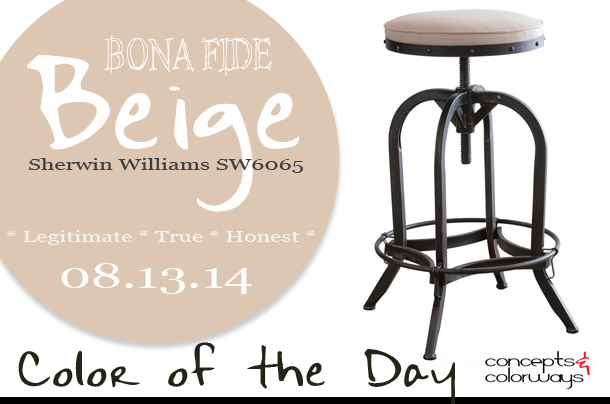 08.13.14 Color of the Day, Bona Fide Beige, Sherwin Williams SW6065, pinkish-beige, pink-beige, Dempsey swivel iron bar stool with beige linen seat