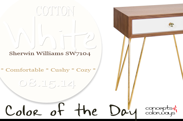 08.15.14 Color of the Day, Cotton White, Sherwin Williams SW7104, warm white, Worlds Away Lathan Side Table