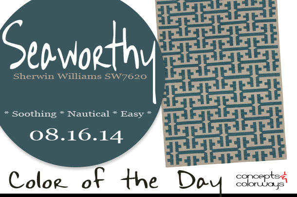 08.16.14 Colorof the Day, Seaworthy, Sherwin Williams Sw7620, blue-green, Capel Rugs Grecian Blue Green Wool Rug
