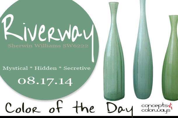 08.17.14 Color of the Day, Riverway, Sherwin Williams SW6222, blue-green, Oly Studio Oslo Vases