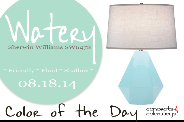 08.18.14 Color of the Day, Watery, Sherwin Williams SW6478, aqua blue, Robert Abbey Delta Baby Blue Modern Lamp