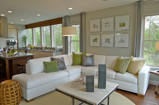 light gray living room, white sectional, green accents