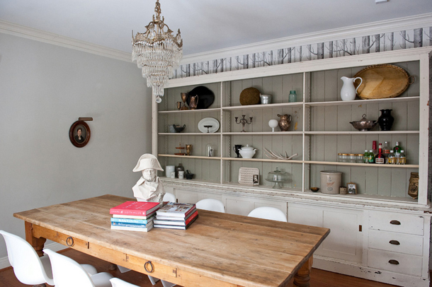 vintage and modern dining room, warm gray accent wall