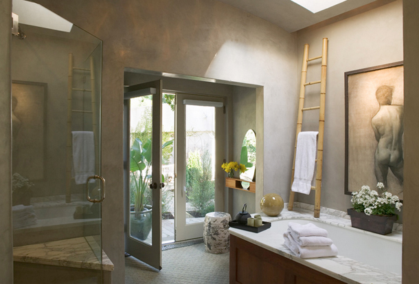 warm gray bathroom