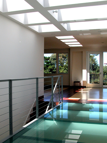 modern interior with glass floor