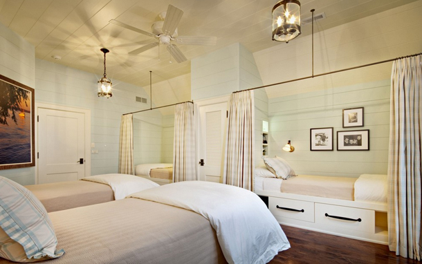 pale seafoam green bedroom, built-in beds, lakehouse bedroom