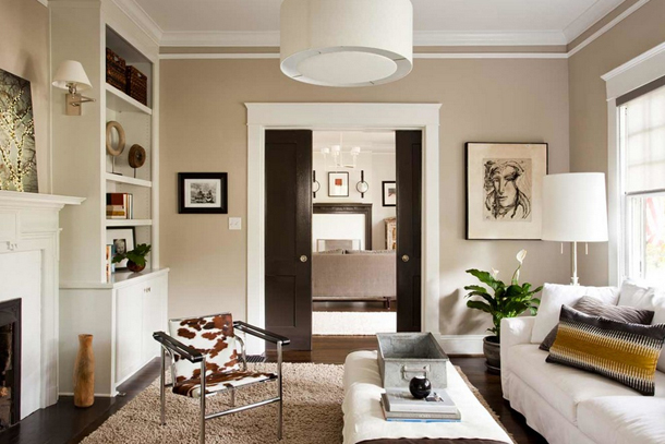 beige living room with white accents
