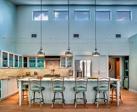 aqua blue kitchen with high ceiling
