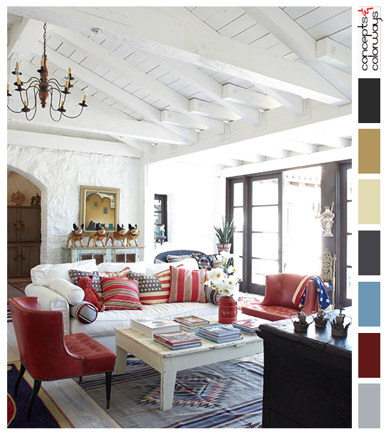 americana themed living room with color palette