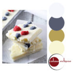 red white and blue frozen yogurt bark with color palette