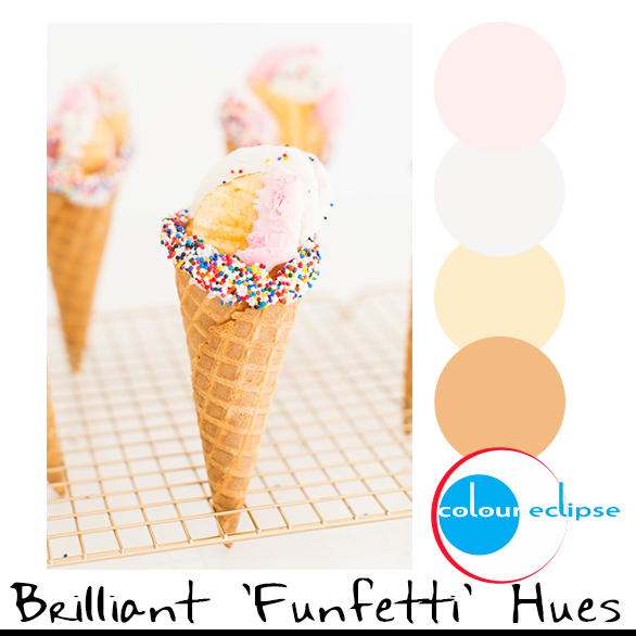 funfetti ice cream cones with color palette