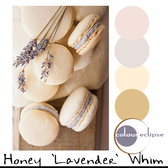 honey lavender macaroons with color palette