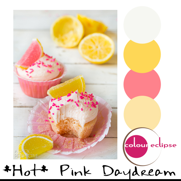 pink lemonade cupcakes with color palette