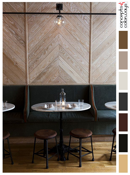 bar lounge interior with color palette
