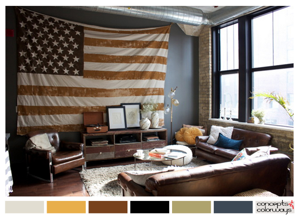 patriotic living room with color palette