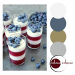 panna cotta and raspberry parfaits with color palette