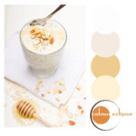 toasted almond and honey oats with color palette