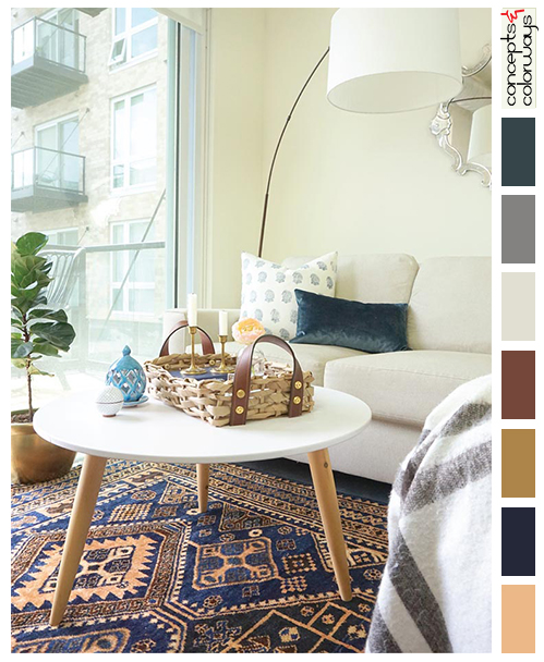 urban casual living room with color palette