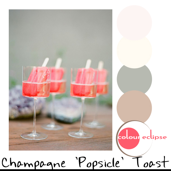 watermelon champagne popsicles with color scheme