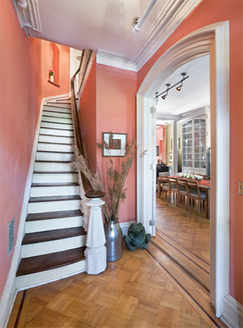 coral reef entry foyer with stair
