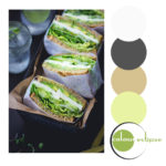 green goddess sandwiches with color palette